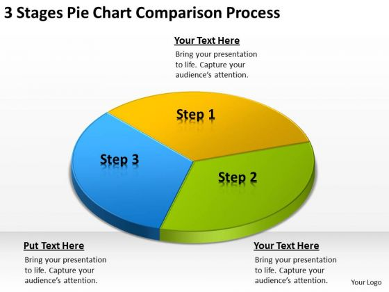 3 Stages Pie Chart Comparison Process Examples Of Business Plan PowerPoint Templates