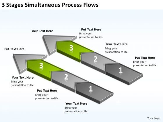 3 Stages Simultaneous Process Flows Ppt Sample Business Continuity