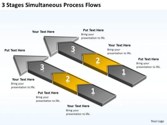 3 Stages Simultaneous Process Flows Web Design Business Plan PowerPoint Slides