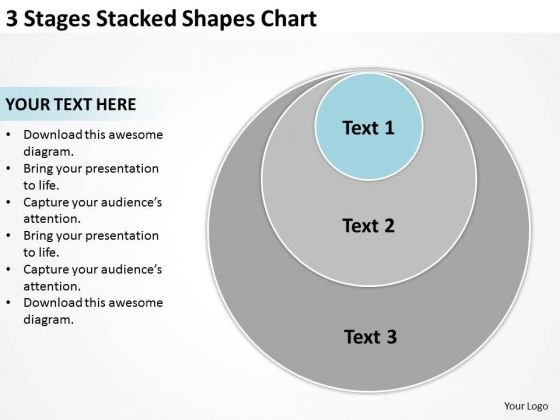 3 Stages Stacked Shapes Chart Business Plan PowerPoint Slides