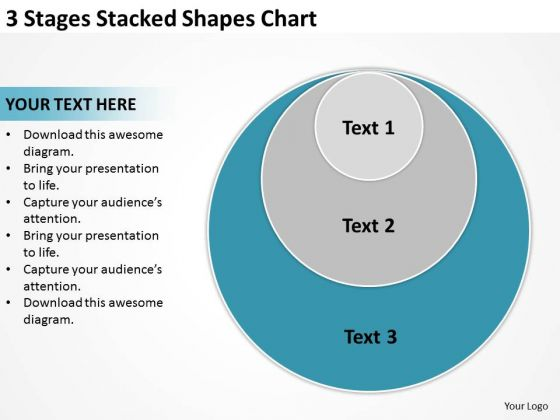 3 Stages Stacked Shapes Chart Ppt How To Type Business Plan PowerPoint Slides