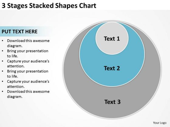 3 Stages Stacked Shapes Chart Simple Business Plan PowerPoint Slides