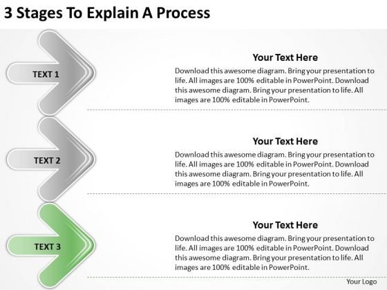 3 Stages To Explain Process Ppt Business Plan Restaurant PowerPoint