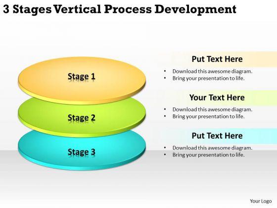 3 Stages Vertical Process Development Business Plan Templete PowerPoint Slides