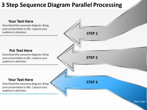 3 Step Sequence Diagram Parallel Processing Ppt Easy Business Plan PowerPoint Slides