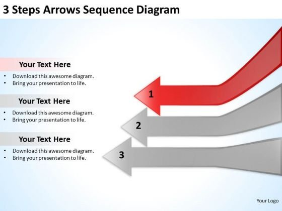 3 Steps Arrows Sequence Diagarm Marketing Plan Template PowerPoint Slides