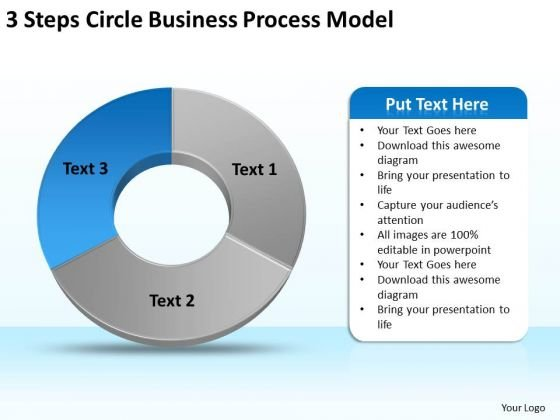 3 Steps Circle Business Process Model Plan Marketing PowerPoint Slides