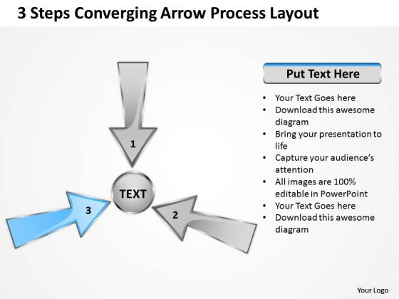 3 Steps Converging Arrow Process Layout Circular Diagram PowerPoint Templates