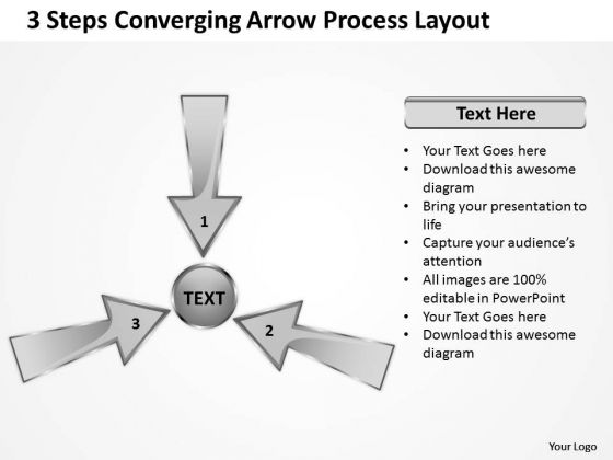 3 Steps Converging Arrow Process Layout Cycle Flow Diagram PowerPoint Templates