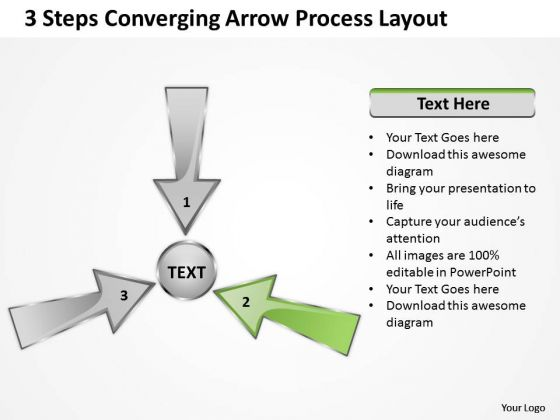 3 Steps Converging Arrow Process Layout Ppt Cycle Flow Diagram PowerPoint Templates