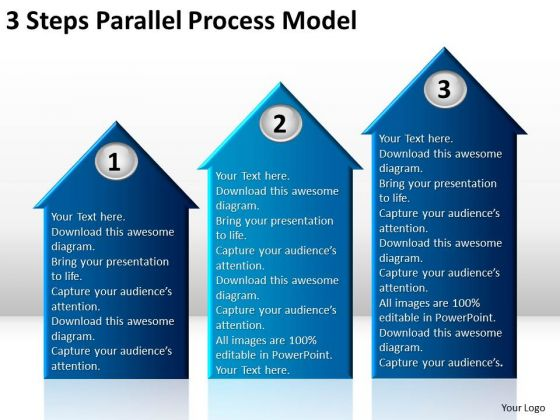 3 Steps Parallel Process Model Writting Business Plan PowerPoint Slides