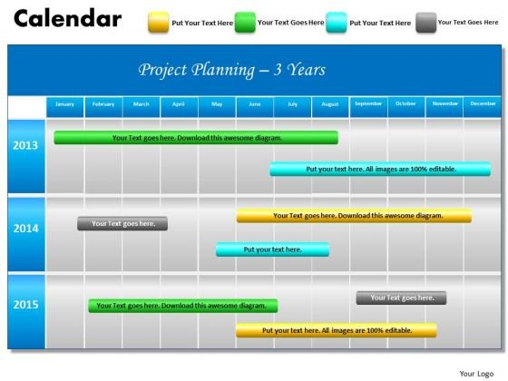 3 Years Project Planning Gantt Chart 2013 Calendar PowerPoint Slides Ppt Templates