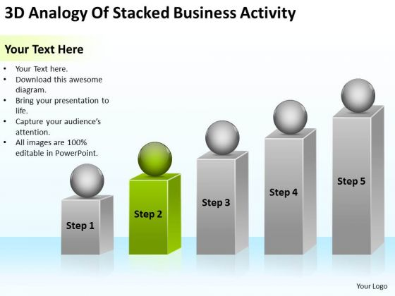 3d Analogy Of Stacked Business Activity Ppt Plan Outline PowerPoint Slides