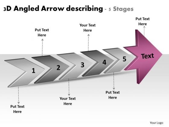 3d Angled Arrow Describing 5 Stages Business Plan Production PowerPoint Slides