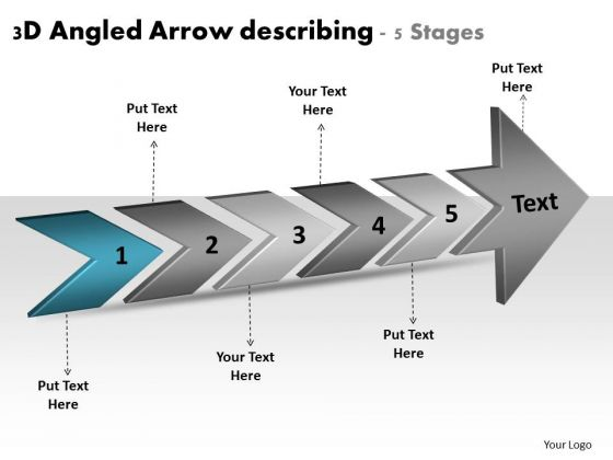 3d Angled Arrow Describing 5 Stages Flow Chart Of Production PowerPoint Slides