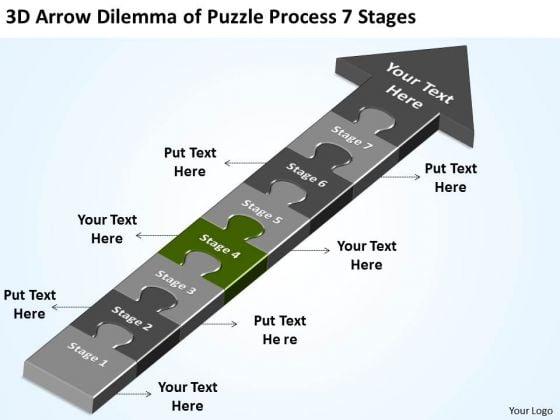 3d Arrow Dilemma Of Puzzle Process 7 Stages Farm Business Plan PowerPoint Slides