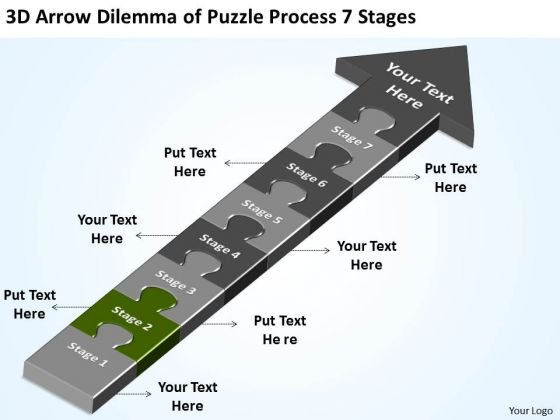 3d Arrow Dilemma Of Puzzle Process 7 Stages Free Business Plan Online PowerPoint Slides