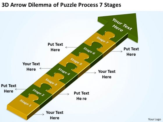 3d Arrow Dilemma Of Puzzle Process 7 Stages Make Flowchart PowerPoint Templates