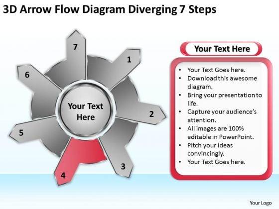 3d Arrow Flow Diagram Diverging 7 Steps Circular Process Network PowerPoint Slides