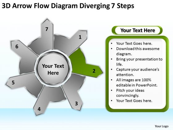 3d Arrow Flow Diagram Diverging 7 Steps Ppt Circular PowerPoint Slides
