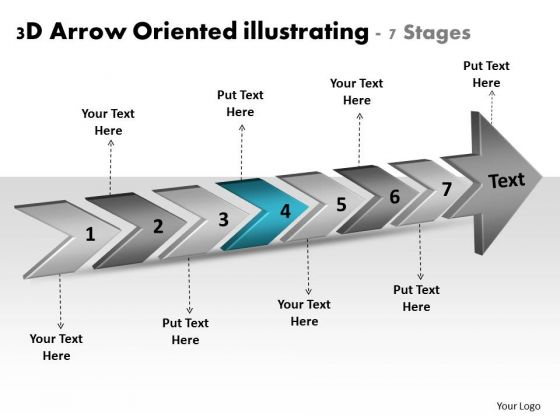 3d Arrow Oriented Illustrating 7 Stages Business Process Flow Chart