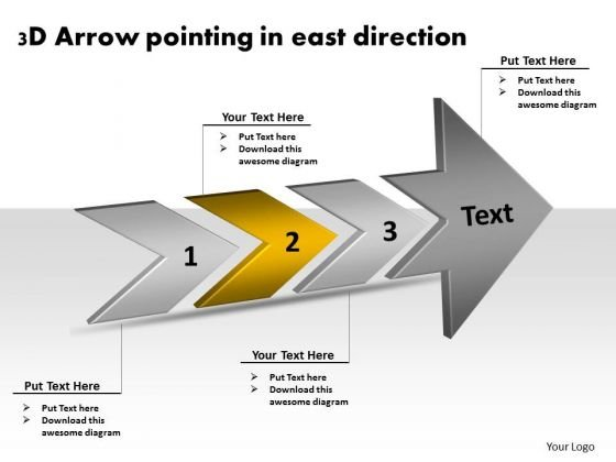 3d Arrow Pointing East Direction Process Flow Document PowerPoint Templates