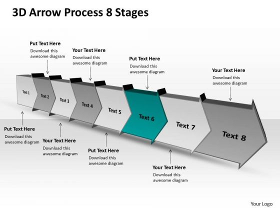 3d Arrow Process 8 Stages Chart Flow Chart Free PowerPoint Templates