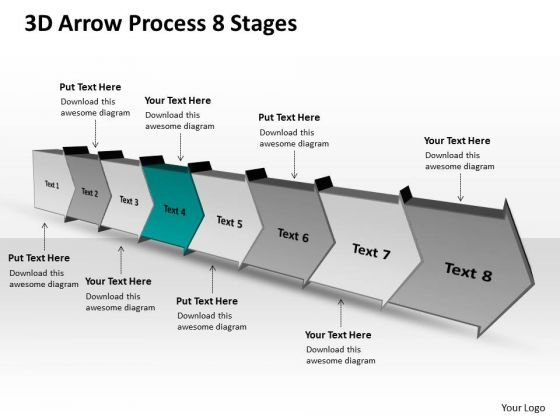 3d Arrow Process 8 Stages Flow Chart Free PowerPoint Templates