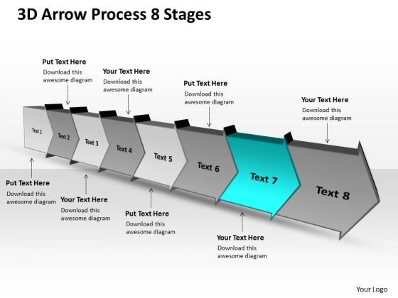 3d arrow process 8 stages ppt flow chart free powerpoint templates, Powerpoint templates