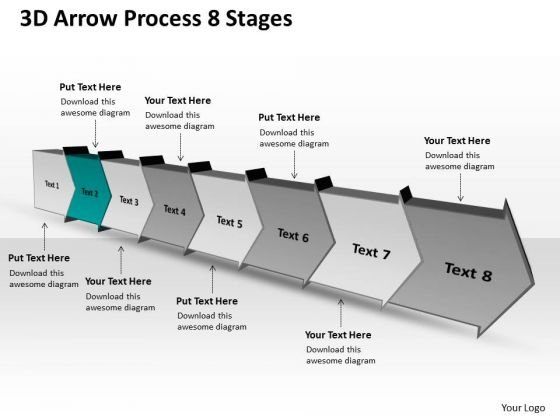 3d Arrow Process 8 Stages Ppt Production Flow Chart PowerPoint Slides