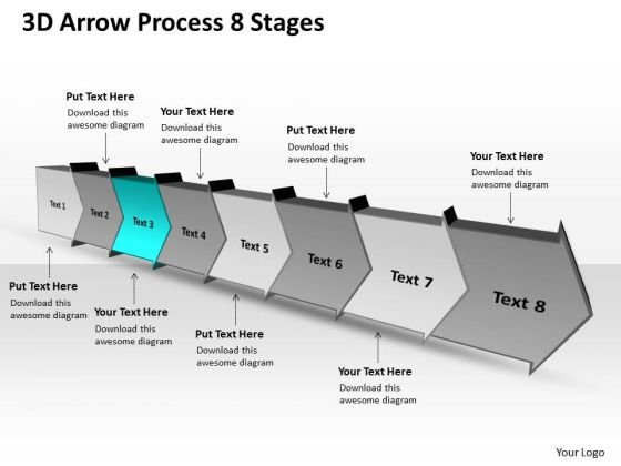 3d Arrow Process 8 Stages Production Flow Chart PowerPoint Slides