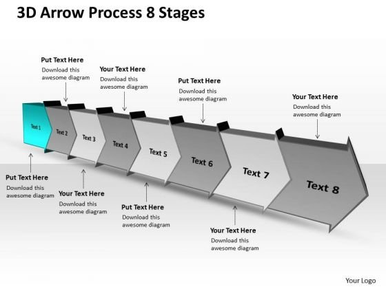 3d Arrow Process 8 Stages Schematic Drawing PowerPoint Templates