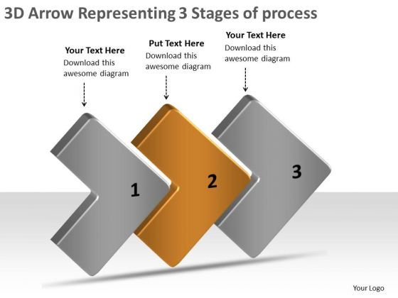 3d Arrow Representing Stages Of Process Creating Flow Chart PowerPoint Templates