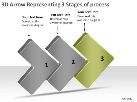 3d Arrow Representing Stages Of Process Ppt Flow Chart Production PowerPoint Slides