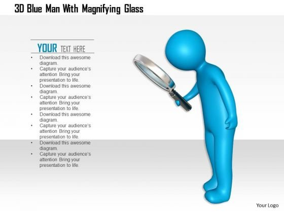 3d Blue Man With Magnifying Glass