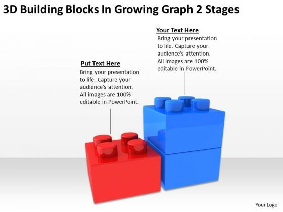 3d Building Blocks Growing Graph 2 Stages Business Plan PowerPoint Slides