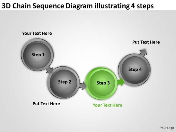 3d Chain Sequence Diagram Illustrating 4 Steps Ppt Business Plan Financials PowerPoint Slides