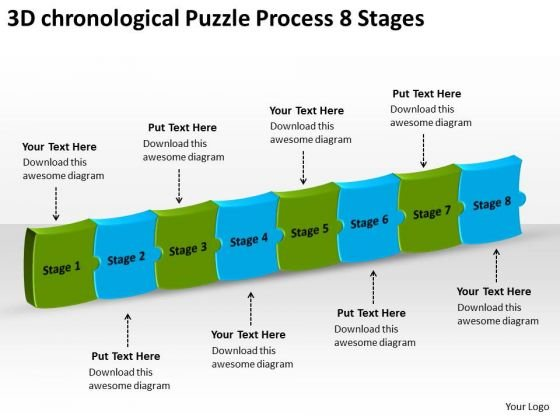3d Chronological Puzzle Process 8 Stages Flowcharts In Vision PowerPoint Slides