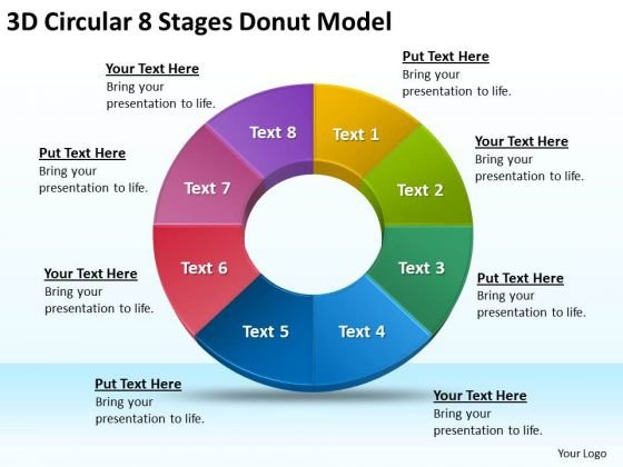 3d Circular 8 Stages Donut Model Business Plan PowerPoint Templates