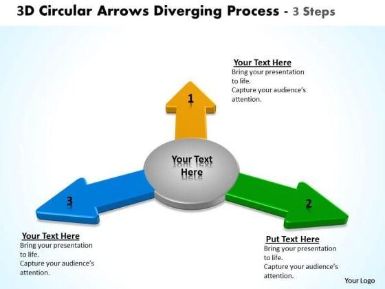 3d Circular Arrows Diverging Process Steps Flow Network PowerPoint Templates