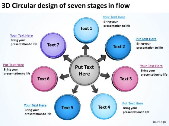 3d Circular Design Of Seven Stages In Flow Charts And Diagrams PowerPoint Templates