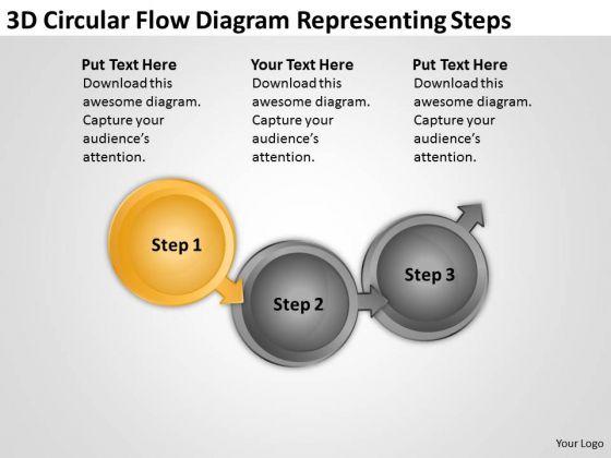 3d Circular Flow Diagram Representing Steps Mini Business Plan PowerPoint Templates