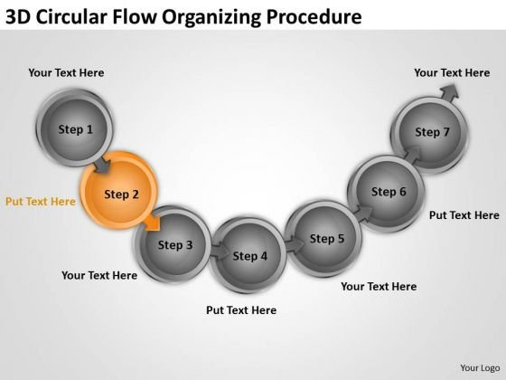 3d Circular Flow Organizing Procedure Daycare Business Plan Template PowerPoint Slides