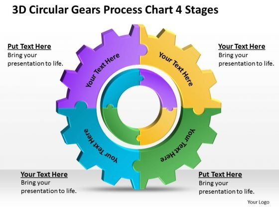 3d Circular Gears Process Chart 4 Stages Ppt Business Plan Template PowerPoint Templates
