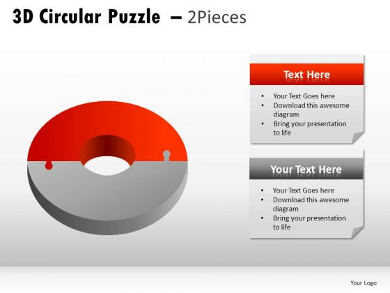3d Circular Puzzle 2 Pieces PowerPoint Slides And Ppt Theme Templates