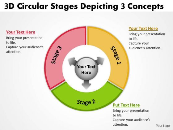 3d Circular Stages Depicting Concepts Flow Network PowerPoint Templates