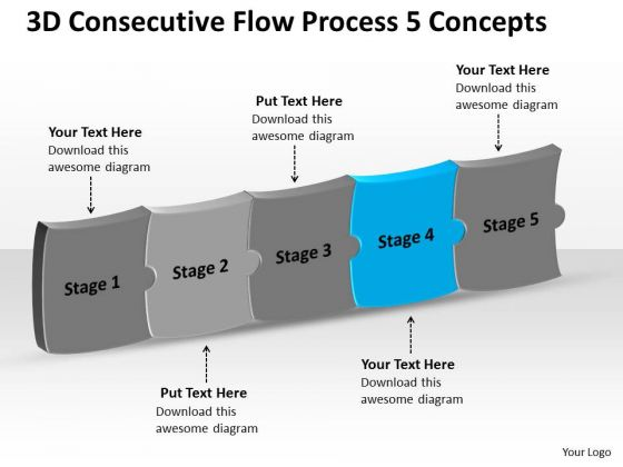 3d Consecutive Flow Process 5 Concepts Ppt Electrical Schematic PowerPoint Templates
