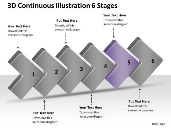 3d Continuous Illustration 6 Stages Ppt Make Flow Chart PowerPoint Slides