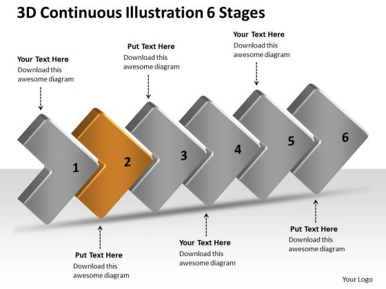 3d Continuous Illustration 6 Stages Ppt Work Process Flow Chart PowerPoint Templates