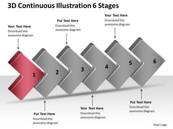 3d Continuous Illustration 6 Stages Quote Process Flow Chart PowerPoint Slides